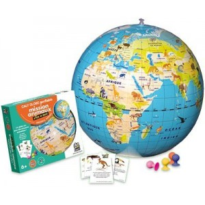 Caly Globe Gonflable Mission Animaux Stick N Quiz