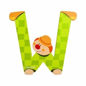 Lettre majuscule w vert en bois
