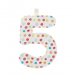 Chiffre 5 en tissu