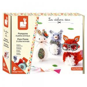 Kit Creatif Pompons 3 Petits Animaux