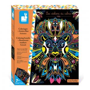 Kit Creatif Coloriages Feutres Fluo Animaux