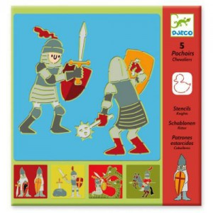 5 pochoirs chevaliers