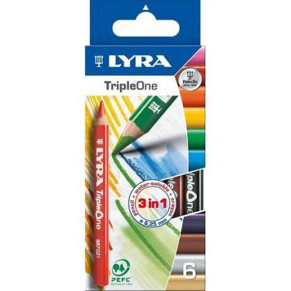 6 crayons de couleur 3 en 1 triple one