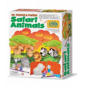 Kit de moulage 3d & peinture : animaux de la jungle safari