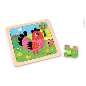 Puzzle Poule Violette 9 pieces