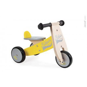 Porteur 3 roues little bikloon - jaune et argent