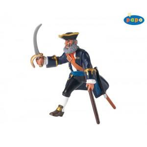 Pirate capitaine a la jambe de bois bleu